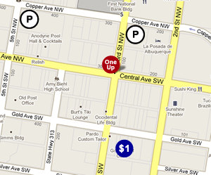 Map of available parking for One Up Elevated Lounge